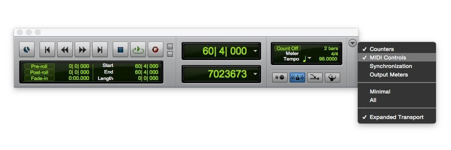 access pro tools transport value to tap tempo