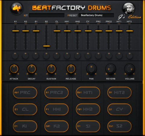 Beat Factory Drums - best free virtual instrument vst for windows and mac computers and laptops