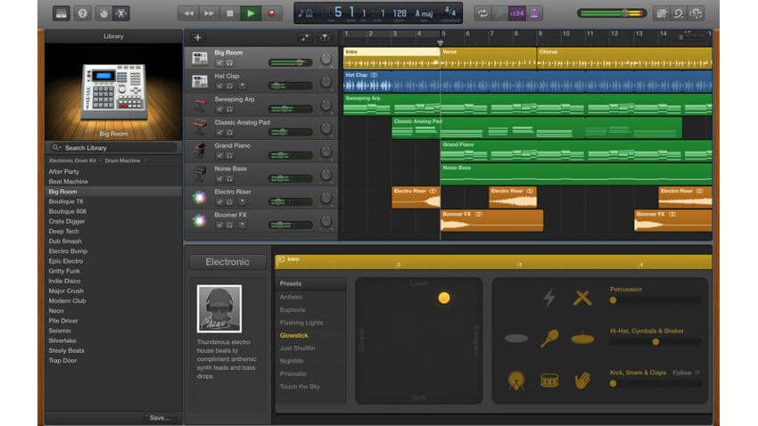 Garage Band - best free songwriting chord instrument progression app for apple tablets and computers