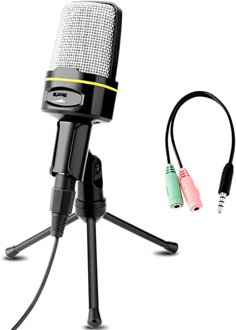 Venoro Plug and Play Home Studio Condenser Microphone - cheapest gaming microphone without headphones for beginners