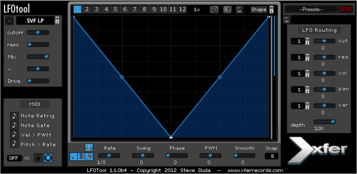 LFO Tool by Xfer - popular free edm vst plugin for music production