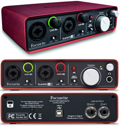 focusrite scarlett 2i2 how many inputs and outlets