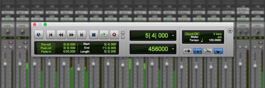 transport windown pro tools to set tap tempo