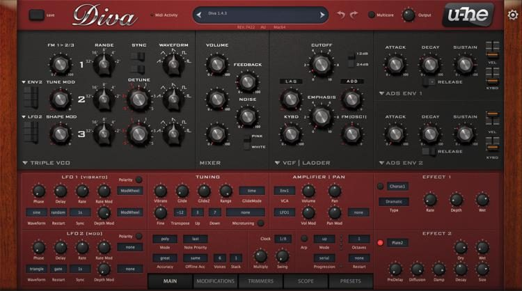 Diva by U-HE - best fl studio bass synth vst plugin for windows and mac