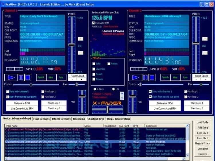 KraMixer old school free dj software for PC