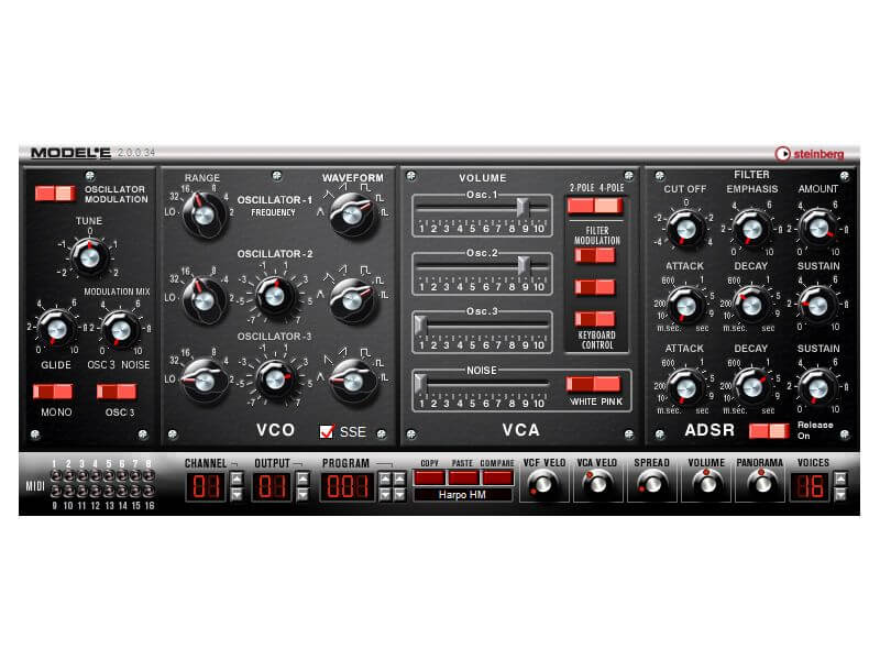 Steinberg Model E - best free fl studio bass synth vst plugin