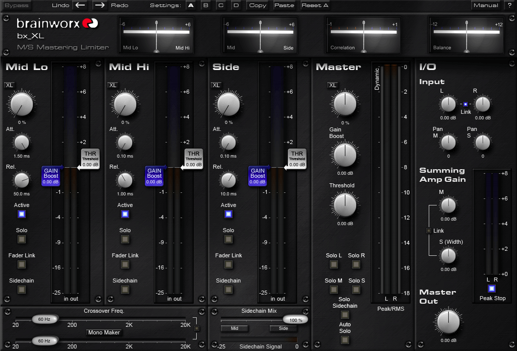 Brainworx bx_XL - best stereo mastering limiter vst plugin for fl studio, ableton, logic pro, pro tools, garageband