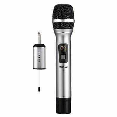 Hotec 25 UHF Handheld Wireless Microphone with mini portable reciever for djs and clubs