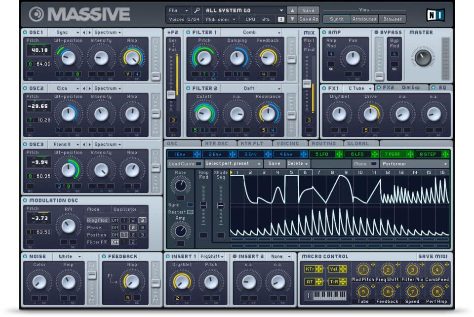 Massive (Native-Instruments) - best professional synth vst for windows and mac