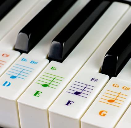 QMG Piano Stickers - color piano and keyboard stickers label